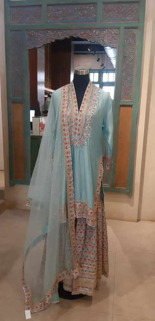 Leela Sharara Set - Blue-Sharara Set-Gopi Vaid Designs