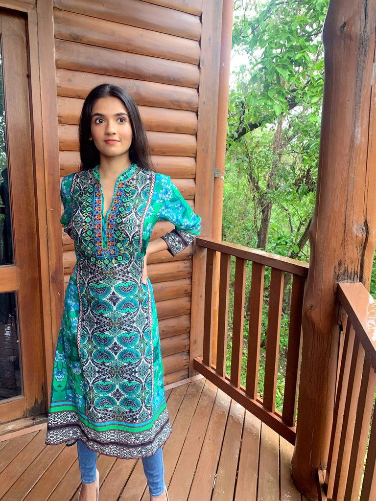 Lotus Tunic- Sea Green-Tunic-Gopi Vaid Designs