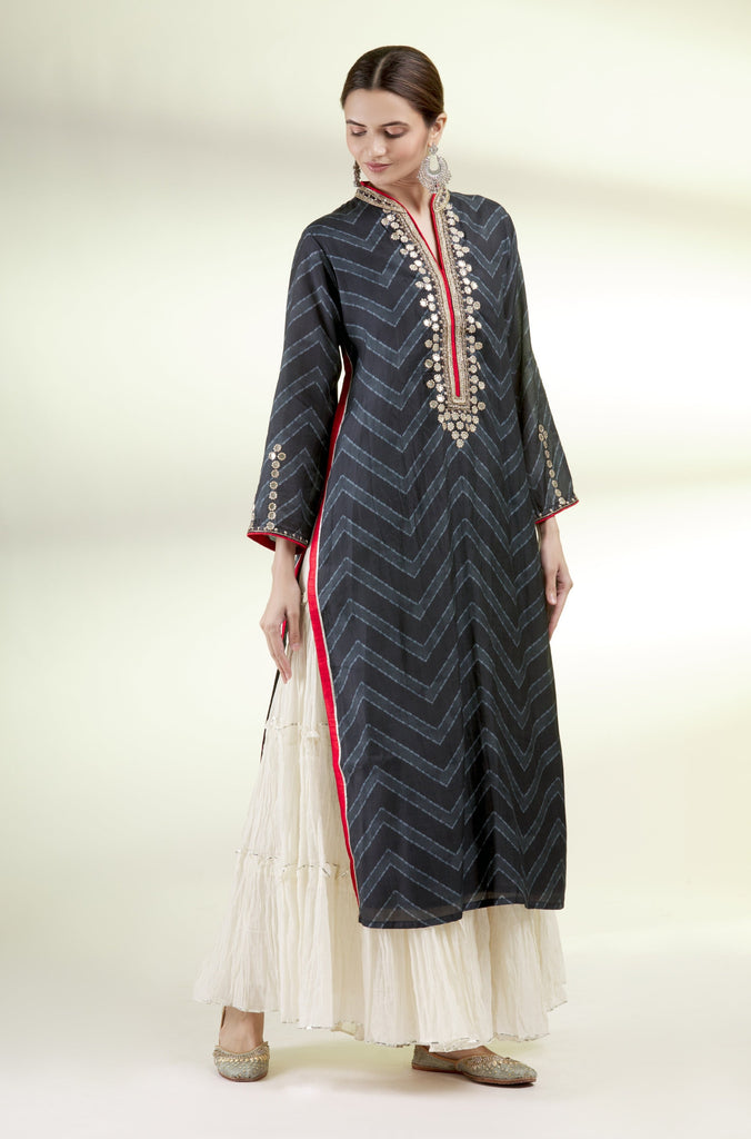 Afreen Tunic with Sharara- Black-Sharara Set-Gopi Vaid Designs
