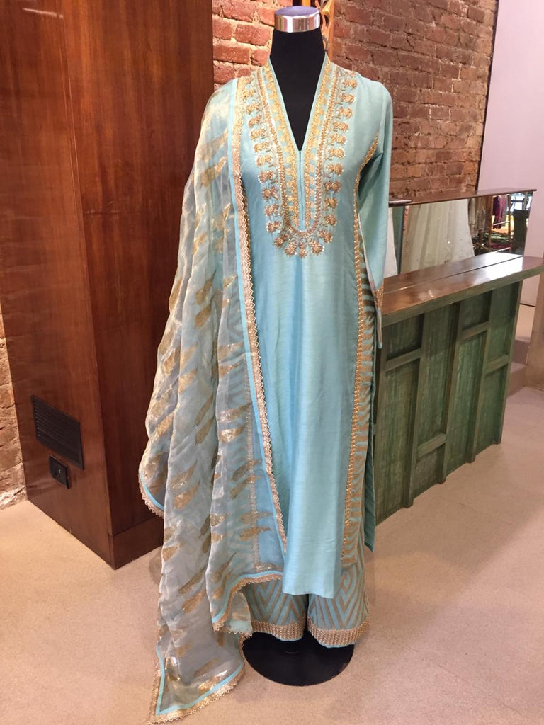 Cypress set - Teal-Kurta Set-Gopi Vaid Designs