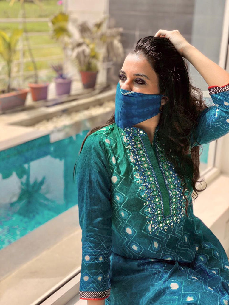 Sara Khan | Lotus Blue Tunic-Tunic-Gopi Vaid Designs