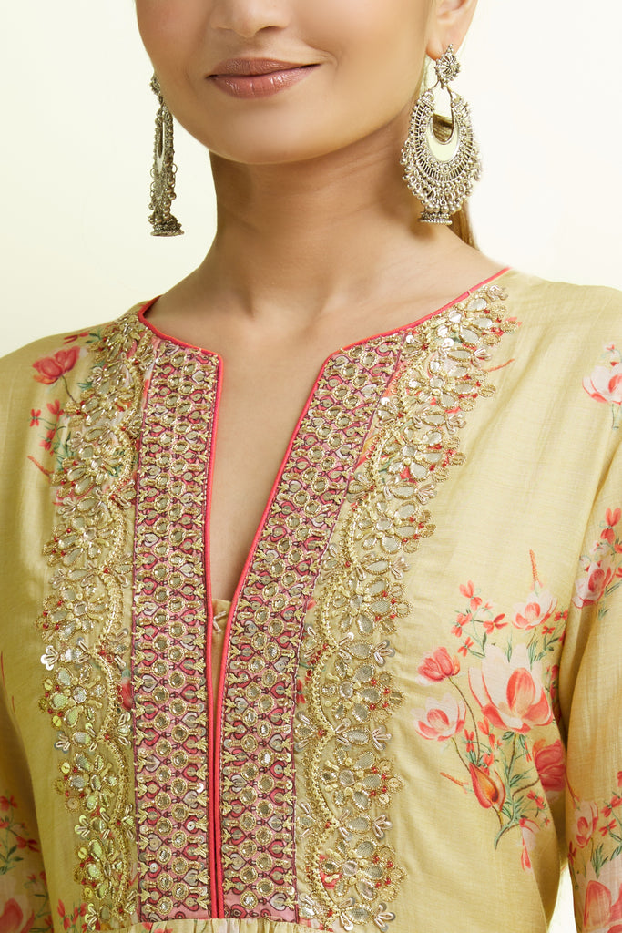 Zera Layered with Sharara- Yellow-Sharara Set-Gopi Vaid Designs