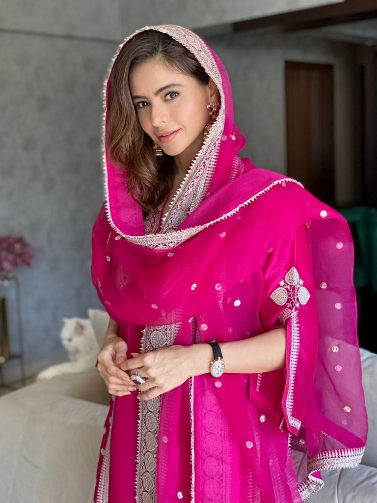 Aamna Sharif in Musafar Sharara Set - Rani-Sharara Set-Gopi Vaid Designs