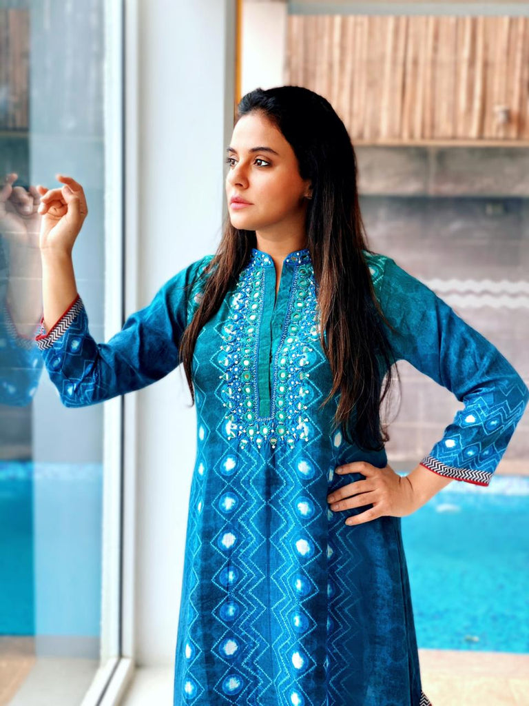 Sara Khan in Lotus Tunic- Blue-Tunic-Gopi Vaid Designs
