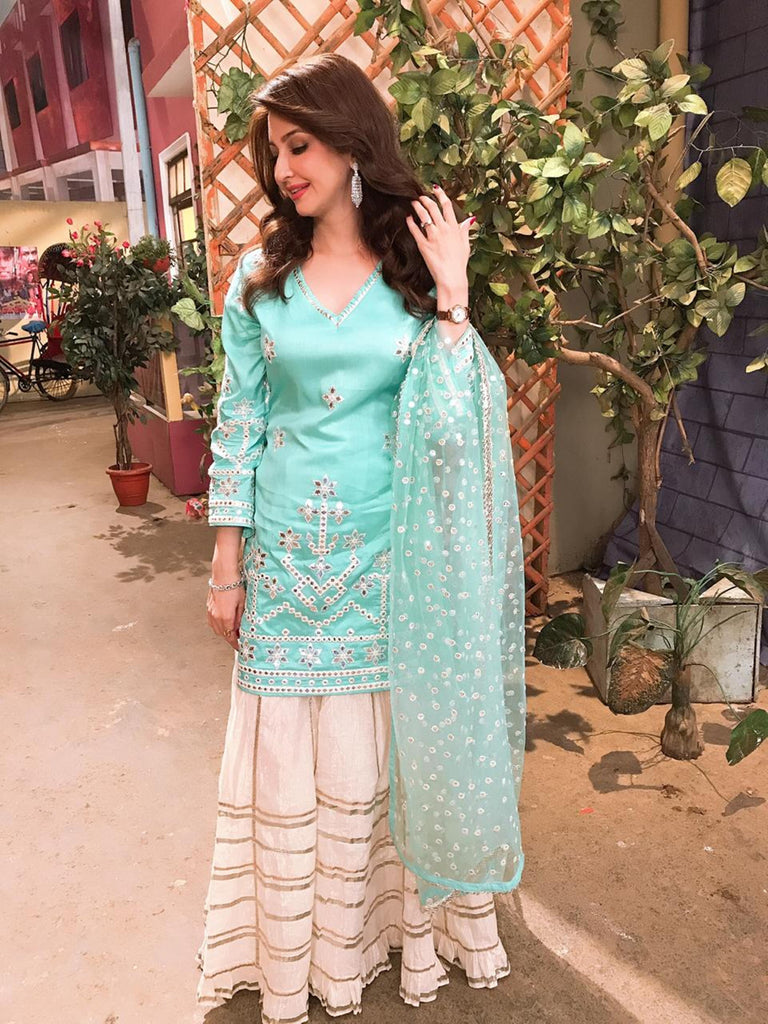 Saumya Tandon in Raas Sharara Set - Blue-Sharara Set-Gopi Vaid Designs