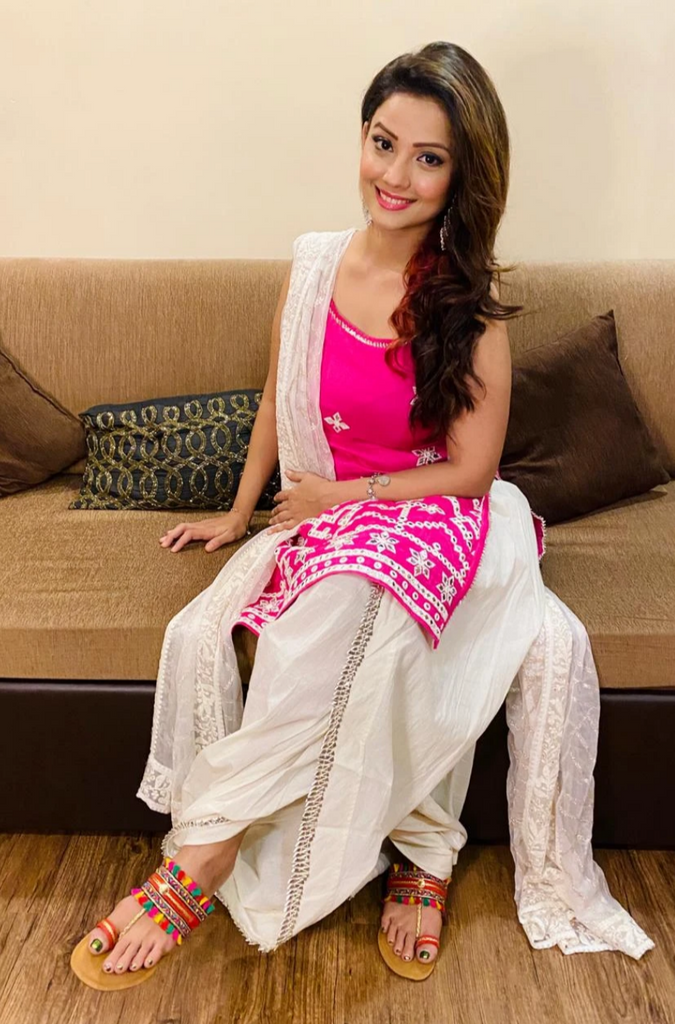 Adaa Khan in Raas Strappy Set - Pink-Dhoti Set-Gopi Vaid Designs