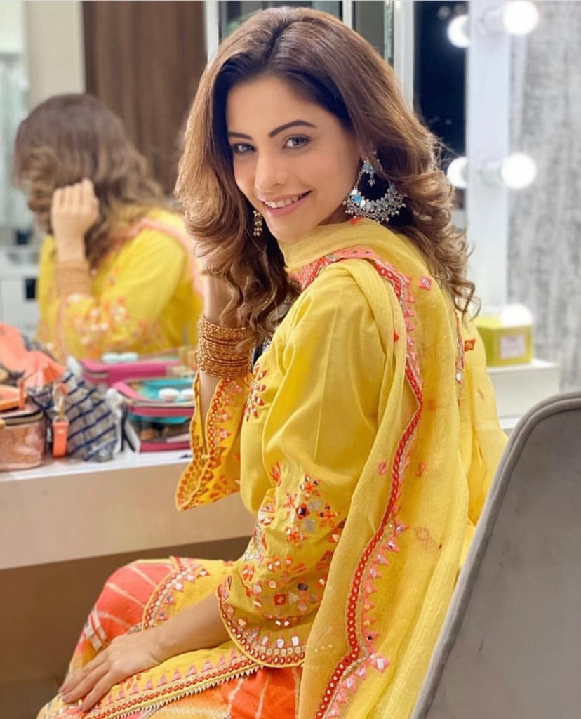 Aamna Sharif in Mela Sharara Set - Yellow-Sharara Set-Gopi Vaid Designs