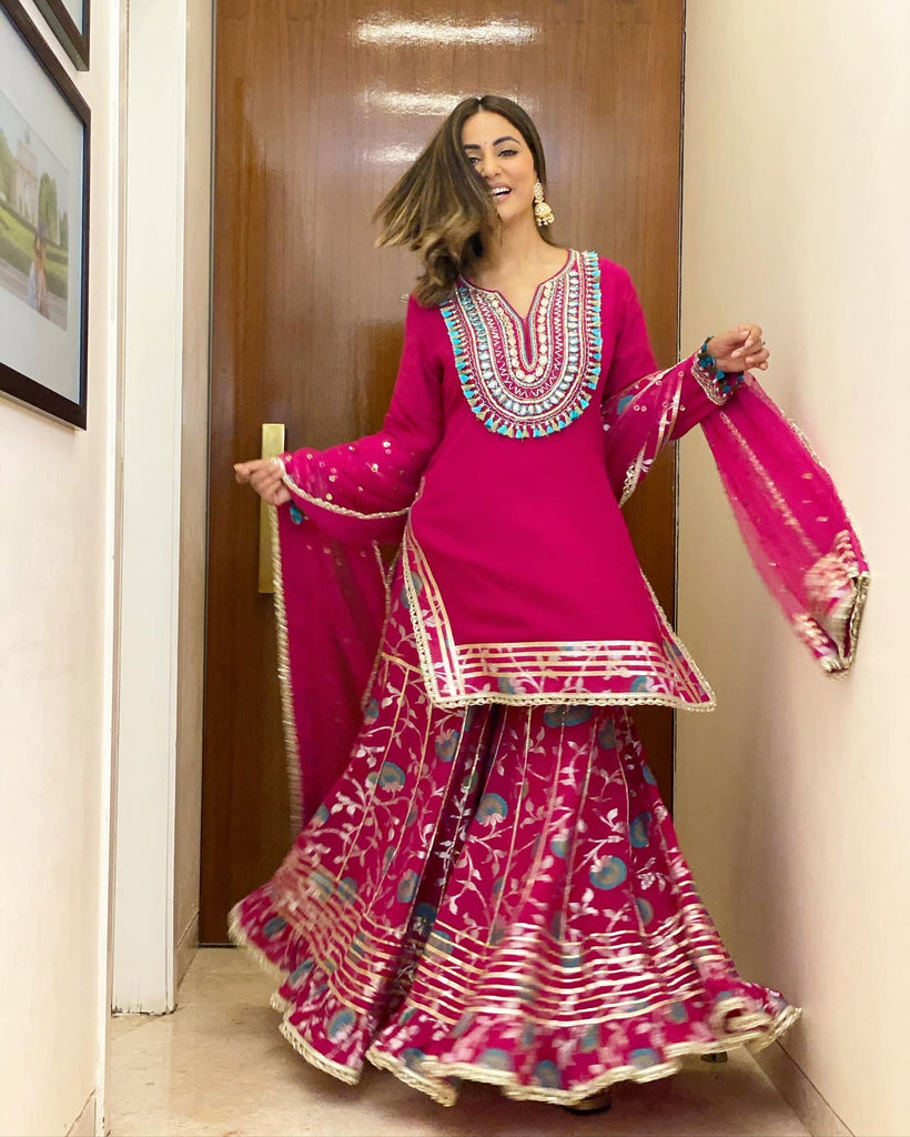 Hina Khan in Lodhi Sharara Set- Rani-Sharara Set-Gopi Vaid Designs