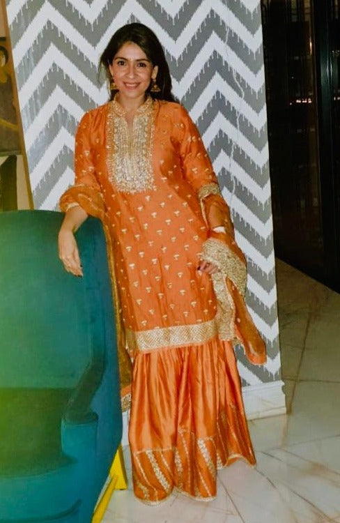 Bhavana Pandey in Meera Gharara Set - Orange-Gharara Set-Gopi Vaid Designs