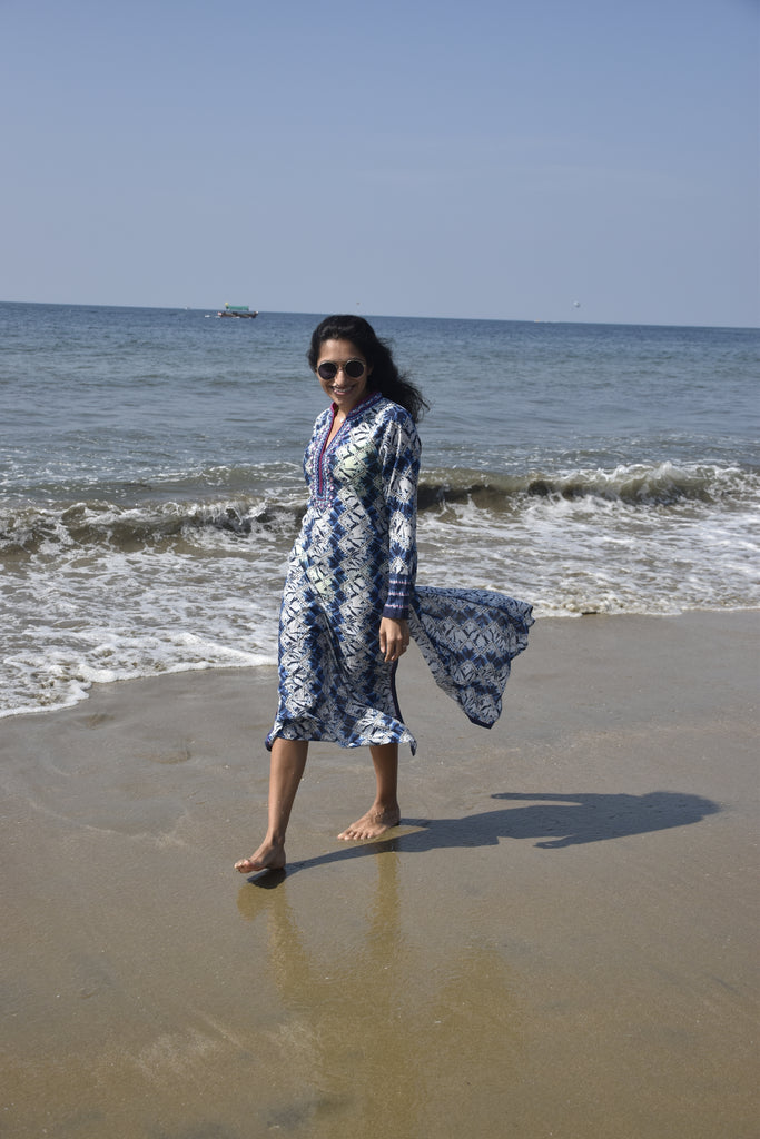 Kaftan by the beach - White/Blue-Tunic-Gopi Vaid Designs