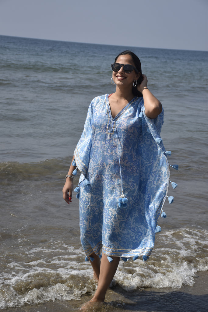 Kaftan by the beach - Blue-Kaftan-Gopi Vaid Designs