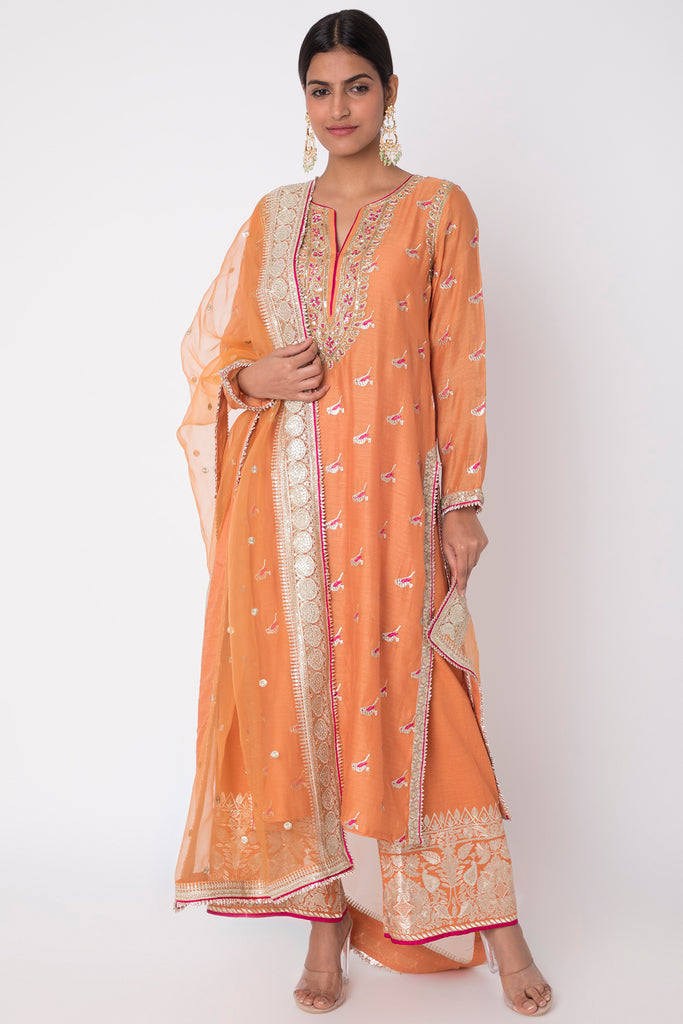 Myna Set Long Kurta with Palazzo- Orange-Palazzo Set-Gopi Vaid Designs