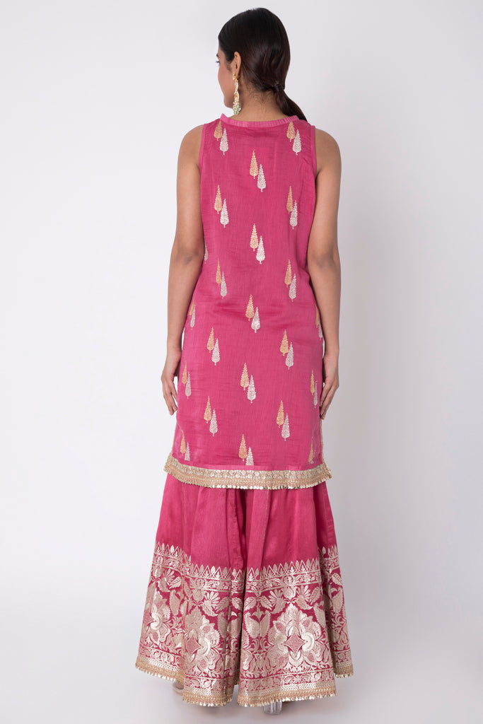 Rani Sleeveless Kurta with Sharara- Pink-Sharara Set-Gopi Vaid Designs