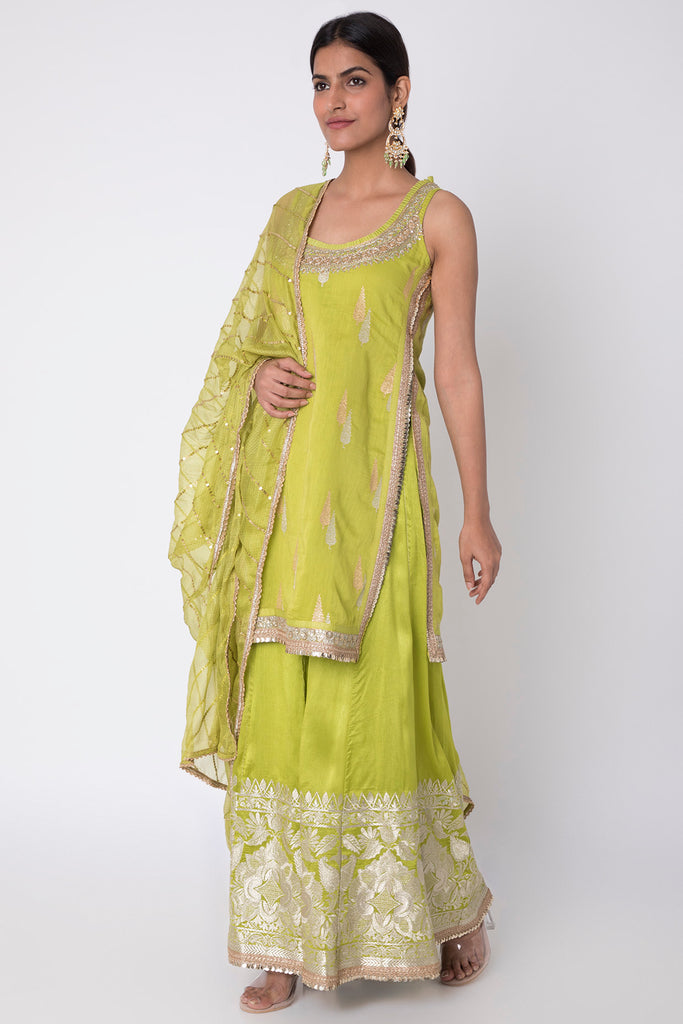 Rani Sleeveless Kurta with Sharara- Mint Green-Sharara Set-Gopi Vaid Designs
