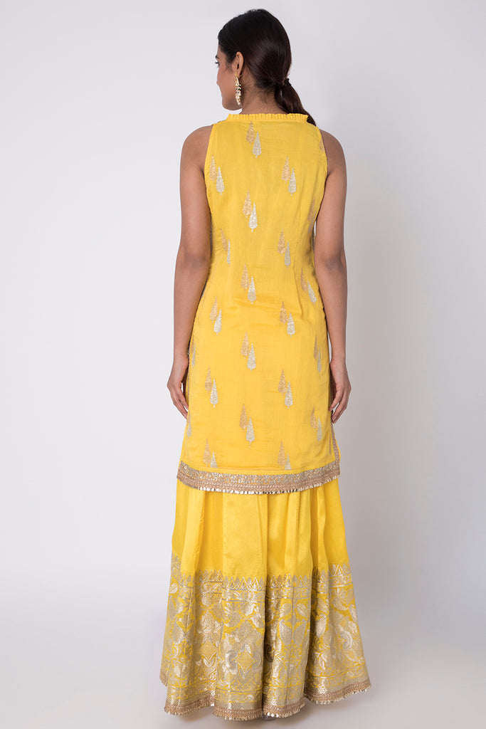 Rani Sleeveless Set- Yellow-Palazzo Set-Gopi Vaid Designs