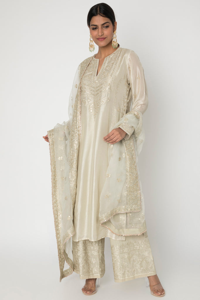 Rati Long Set- Beige-Palazzo Set-Gopi Vaid Designs