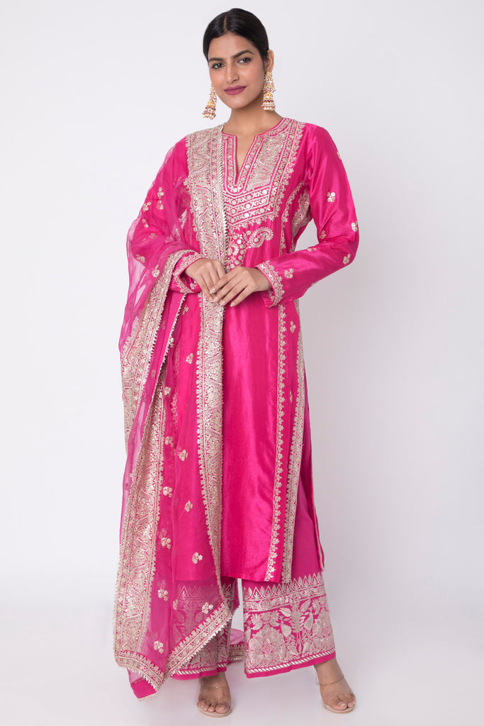Rati Long Set- Pink-Palazzo Set-Gopi Vaid Designs