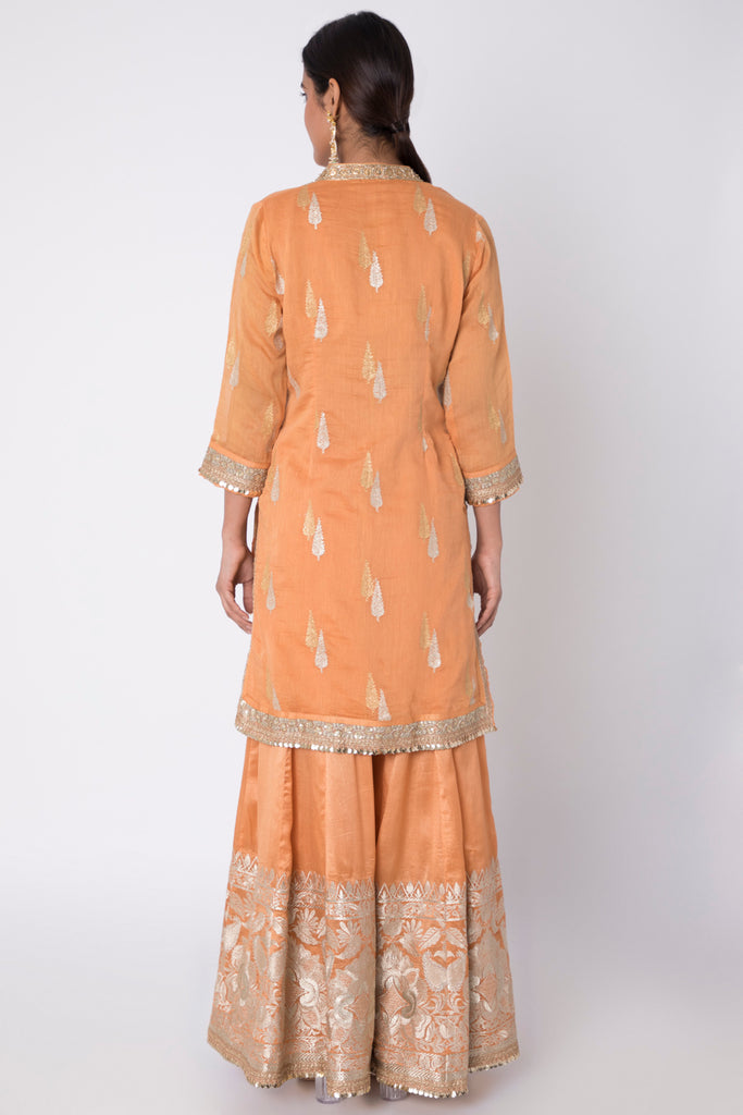 Rani CHN Set- Orange-Kurta-Gopi Vaid Designs