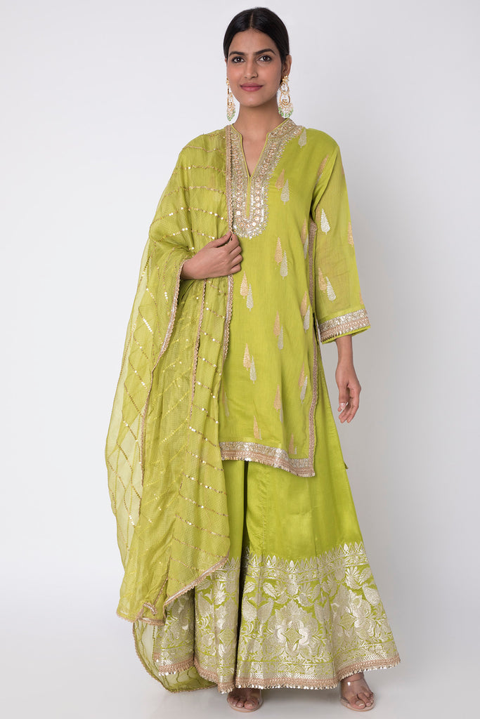 Myna Set Mint Green Long Kurta with Pallazo-Palazzo Set-Gopi Vaid Designs