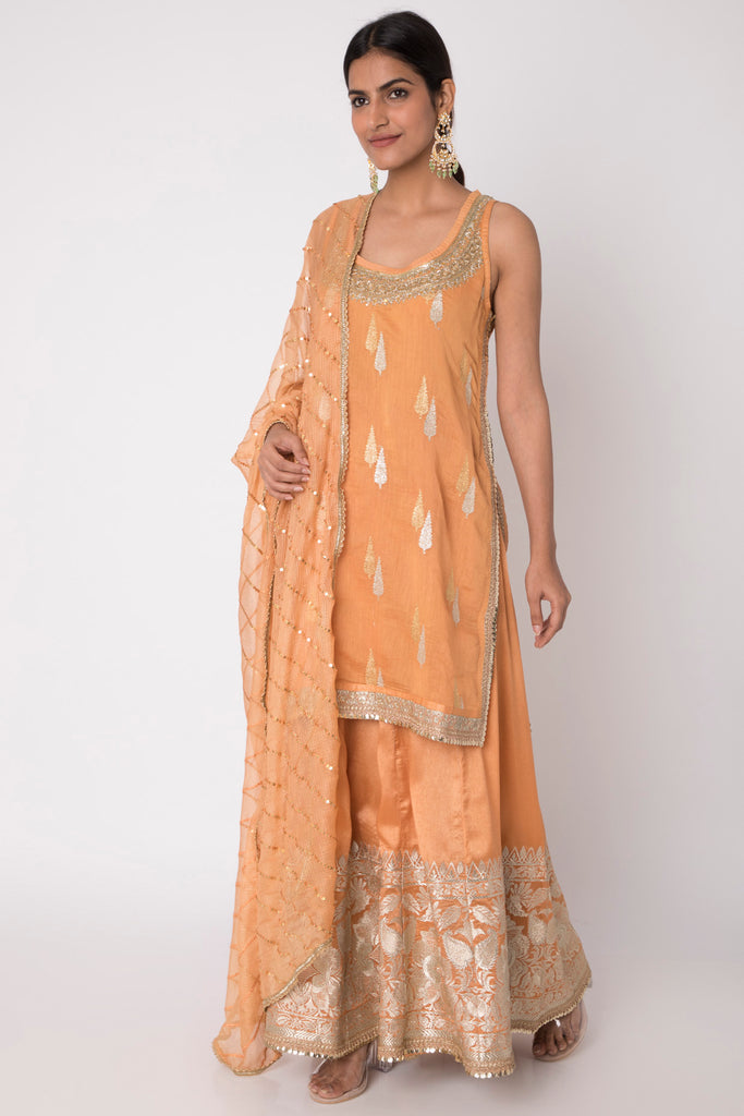 Rani Sleeveless Set- Orange-Kurta-Gopi Vaid Designs