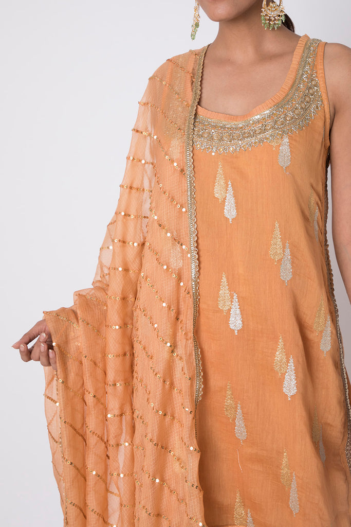 Rani Orange Sleeveless Set-Kurta-Gopi Vaid Designs