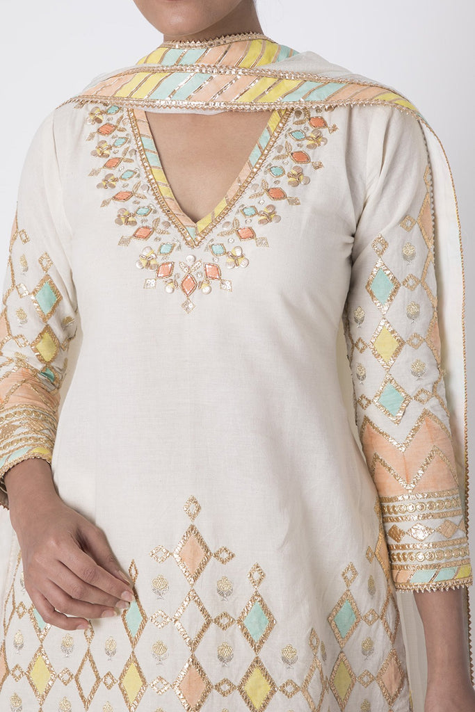 Rangeela Sharara Set- White-Sharara Set-Gopi Vaid Designs