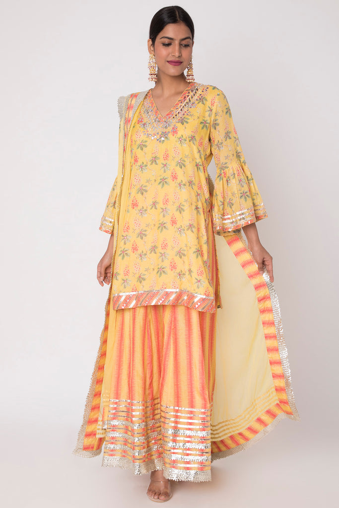 Radha Sharara Set- Yellow-Sharara Set-Gopi Vaid Designs
