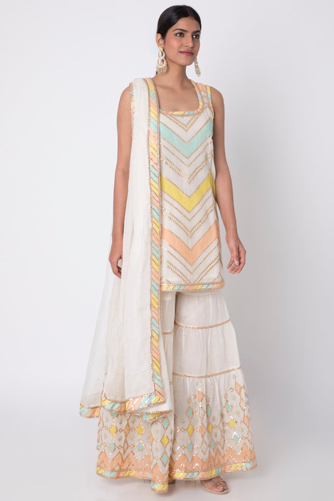 Rangeela Sleeveless Set- White-Sharara Set-Gopi Vaid Designs