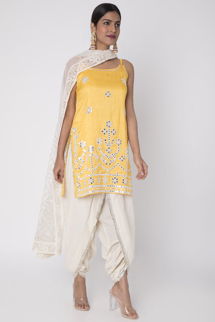 Raas Strappy Set - Yellow-Dhoti Set-Gopi Vaid Designs