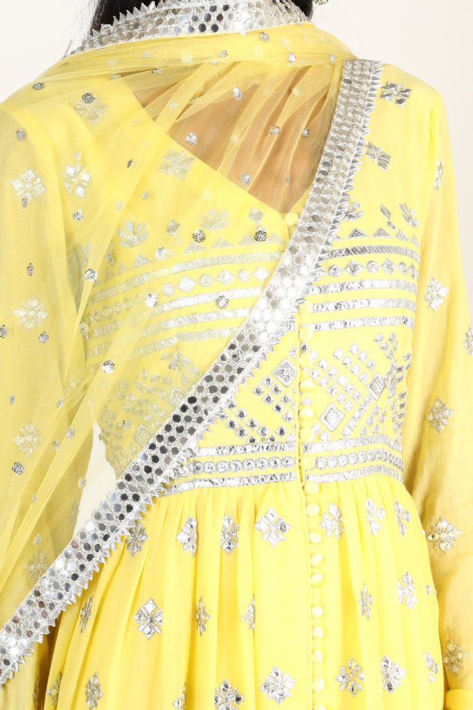 Chand Tiered AG Set- Yellow-Anarkali-Gopi Vaid Designs