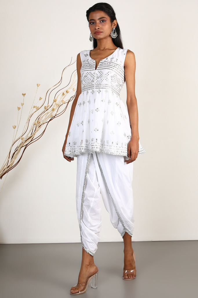 Chand Sleeveless Peplum with Dhoti- Ivory-Sharara Set-Gopi Vaid Designs