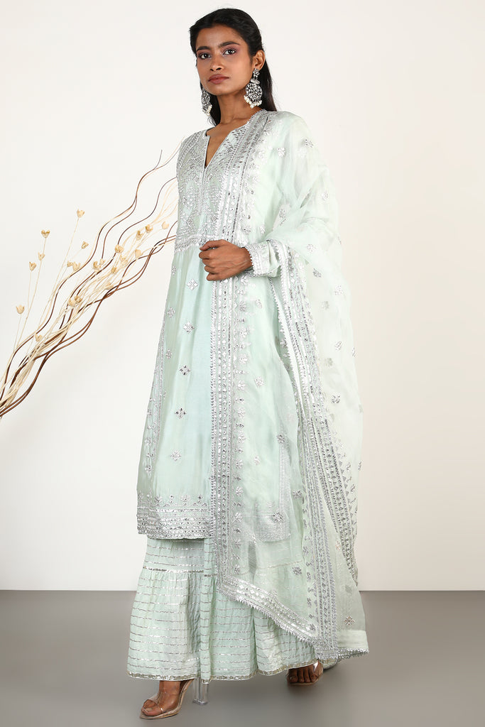 Chand Tunic Set- Mint Green-Tunic Set-Gopi Vaid Designs