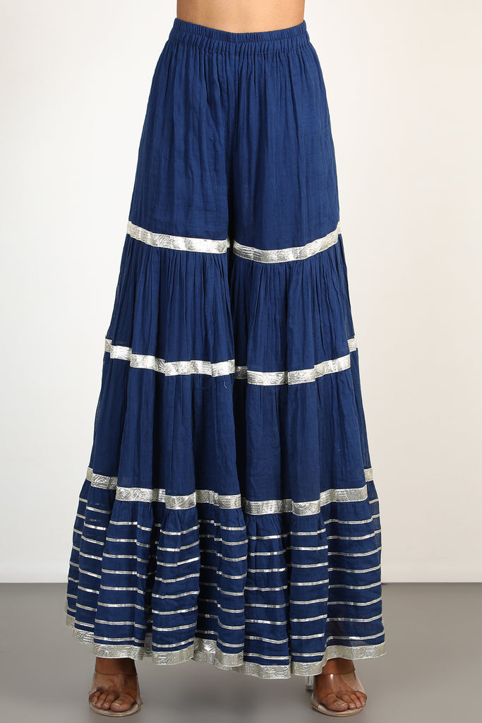 Chand Strappy Sharara Set- Navy-Sharara Set-Gopi Vaid Designs