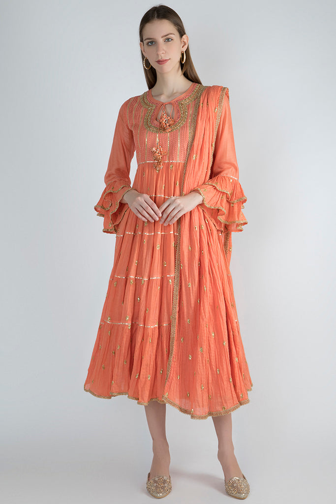 Marwar Coral Kurta With Chuddidar- Orange-Kurta-Gopi Vaid Designs