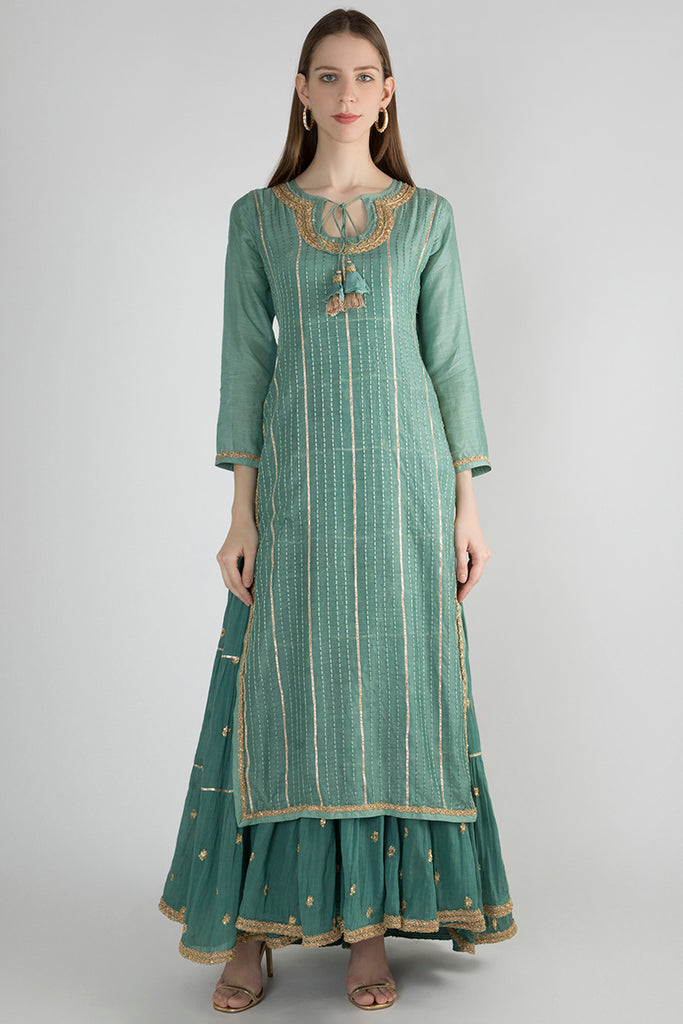 Marwar Two Layer Gown- Teal-Garara Set-Gopi Vaid Designs