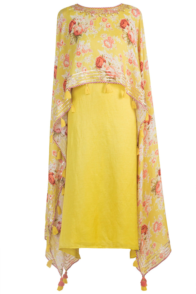 Bagh Yellow Cape Dress-Tunic-Gopi Vaid Designs