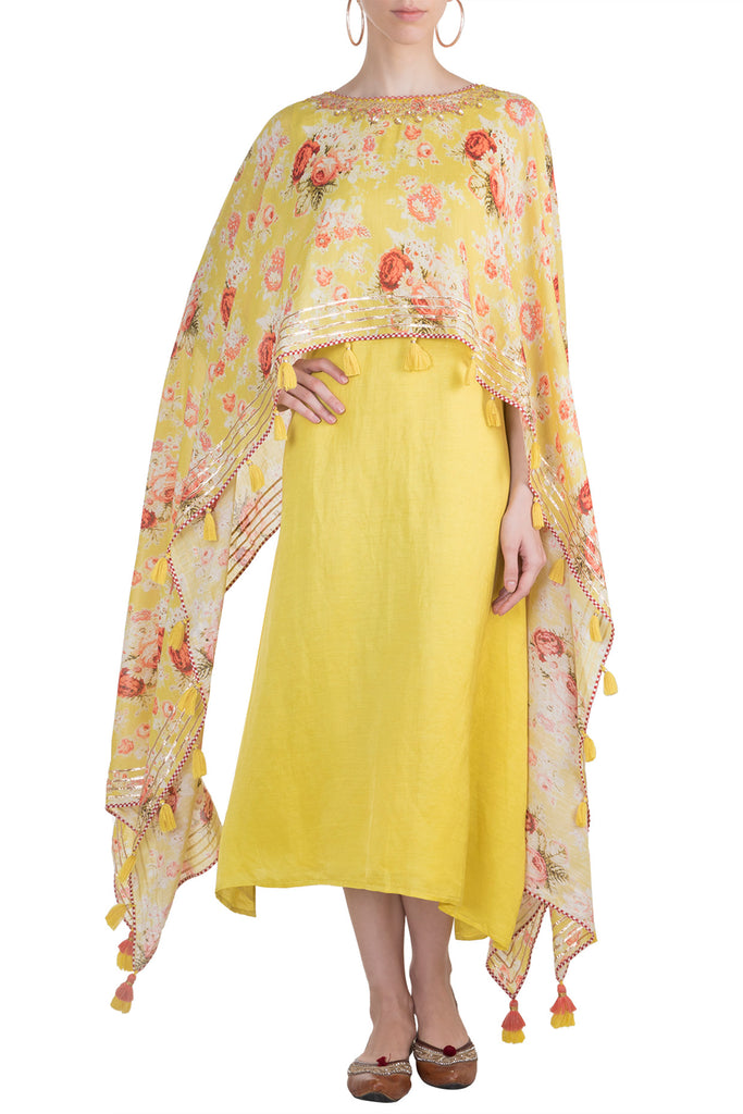 Bagh Cape Dress - Yellow-Tunic-Gopi Vaid Designs