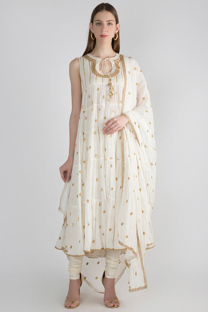 Marwar Layered Dress- White-Anarkali-Gopi Vaid Designs