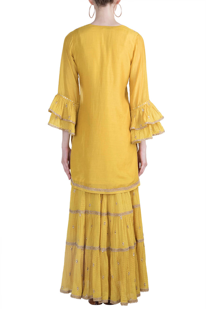Marwar Mustard Sharara Set- Yellow-Sharara Set-Gopi Vaid Designs