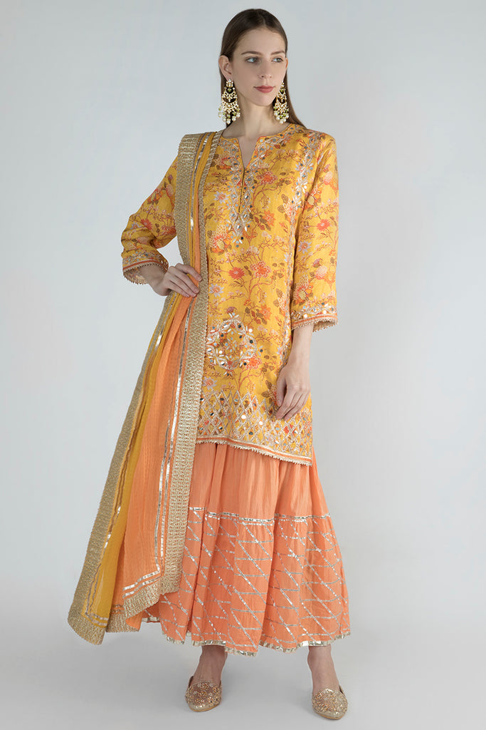 Bikaner Sharara Set - Yellow-Palazzo Set-Gopi Vaid Designs
