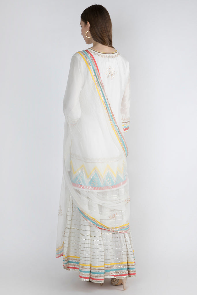 Pulicat Short Set- White-Palazzo Set-Gopi Vaid Designs