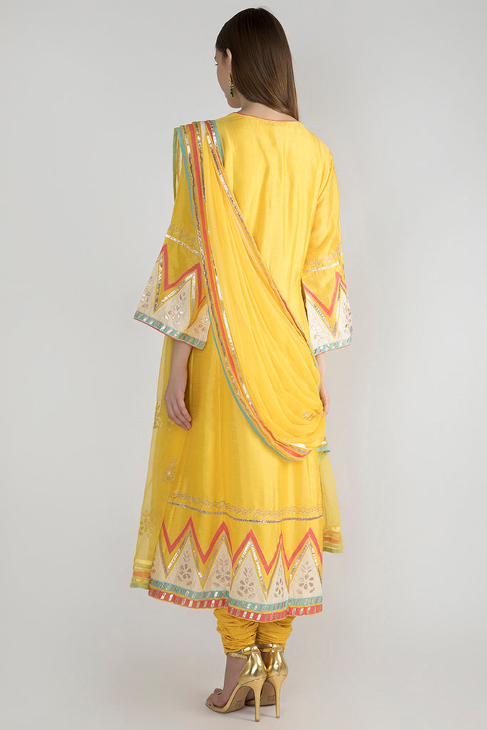 Pulicat Yellow Front Open-Anarkali-Gopi Vaid Designs