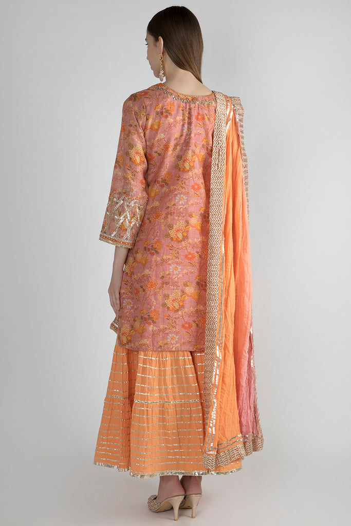 Bikaner Sharara Set- Orange-Palazzo Set-Gopi Vaid Designs