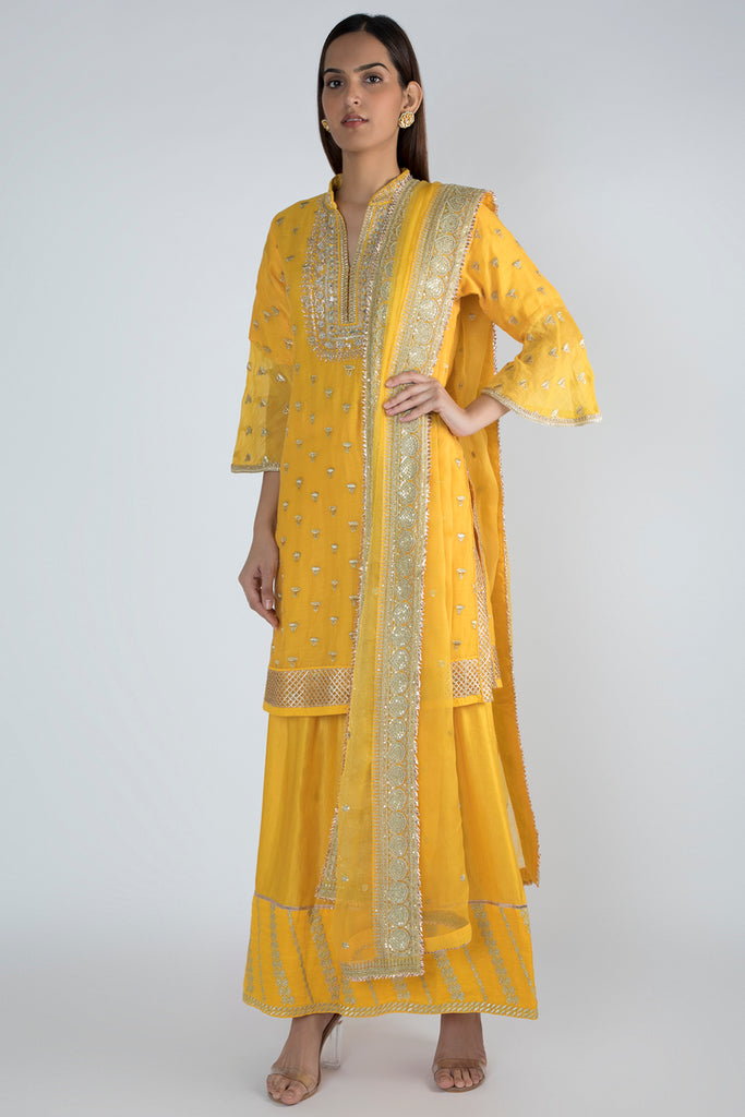 Meera Short Yellow Kurta with Sharara-Sharara Set-Gopi Vaid Designs