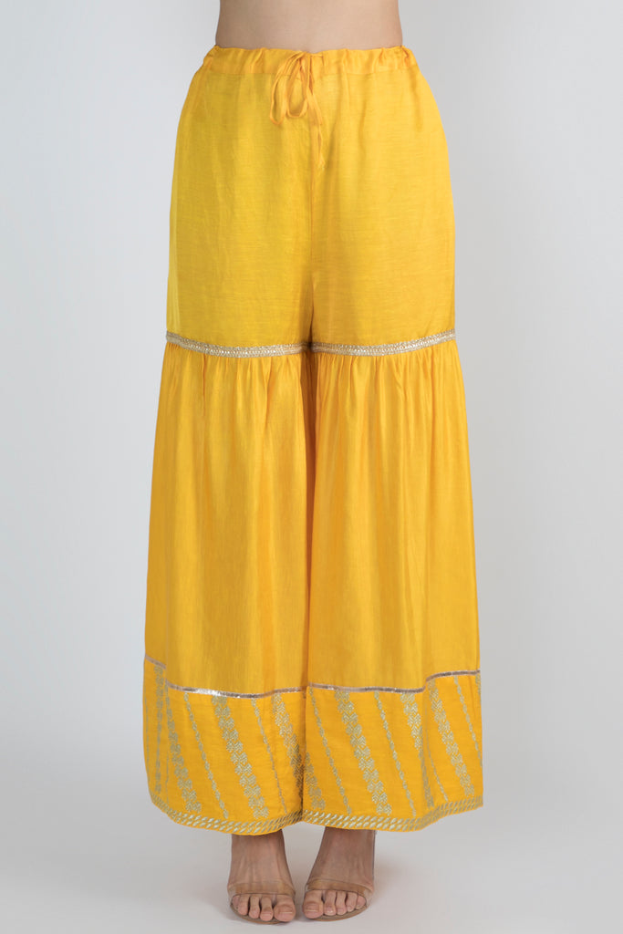 Meera Short Kurta with Sharara- Yellow-Sharara Set-Gopi Vaid Designs