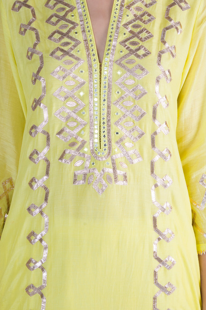 Tarini Tunic Sharara- Yellow-Sharara Set-Gopi Vaid Designs
