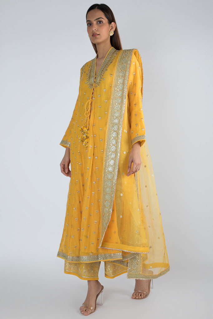 Meera Jacket style Yellow Kurta with Palazzo-Palazzo Set-Gopi Vaid Designs