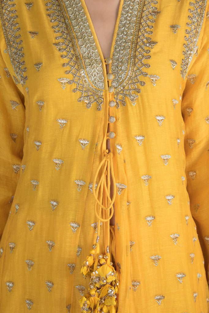 Meera Jacket style Kurta with Palazzo- Yellow-Palazzo Set-Gopi Vaid Designs