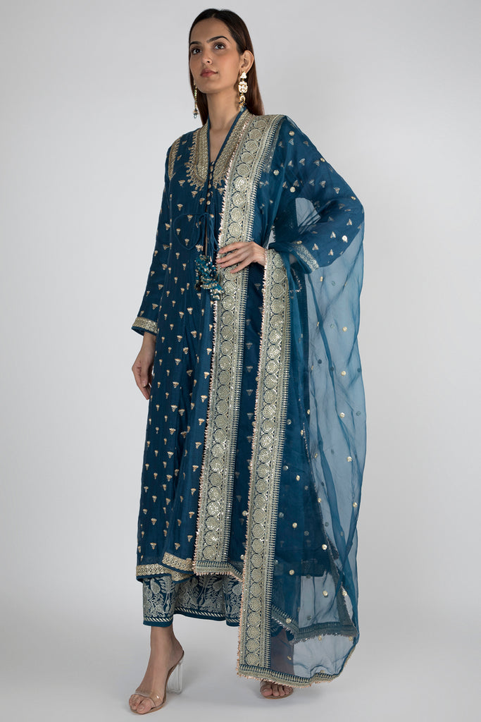 Meera Jacket style Blue Kurta with Palazzo-Palazzo Set-Gopi Vaid Designs