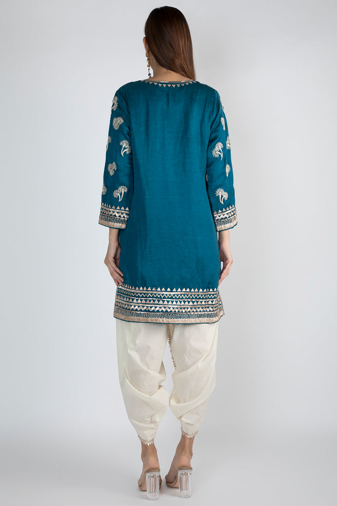 Bani Tunic with Dhoti - Peacock Blue-Dhoti Set-Gopi Vaid Designs
